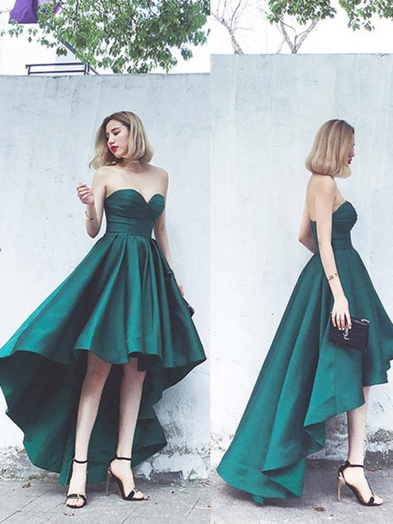d33ea999864 Simple Hi-Lo Emerald Green Strapless Prom Party Dress