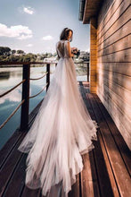 Jewel Neck V Back Tulle Boho Fall Wedding Dress, Vestido de Novia,GDC1254