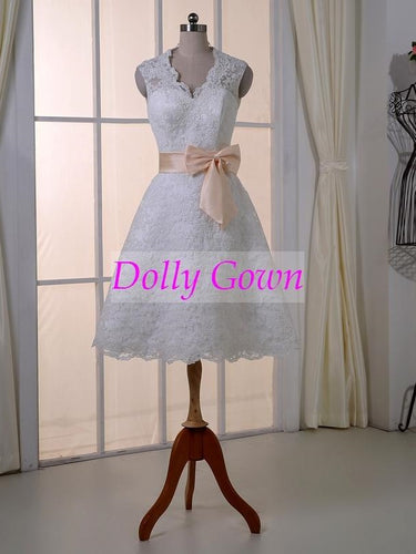 0c960d86ac2 Lace Knee-Length Short Wedding Dress with Open Back
