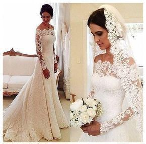 Lace Off Shoulders Sheath Long Sleeves Wedding Dress,GDC1068