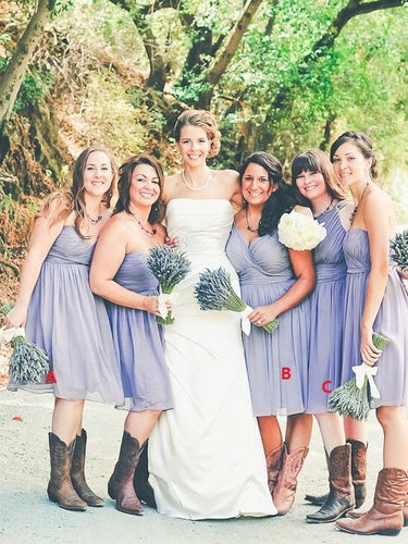 Lavender Chiffon Ruched Short Bridesmaid Dresses with Boots,20081828