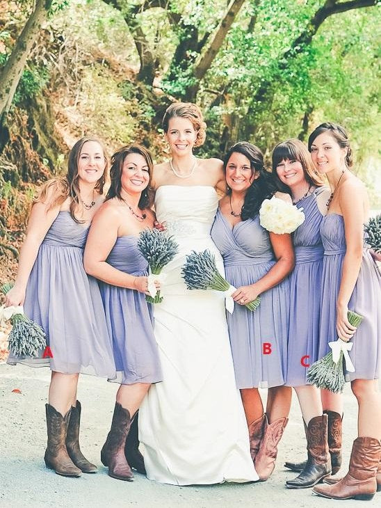 Lavender Chiffon Ruched Short Bridesmaid Dresses with Boots 20081828