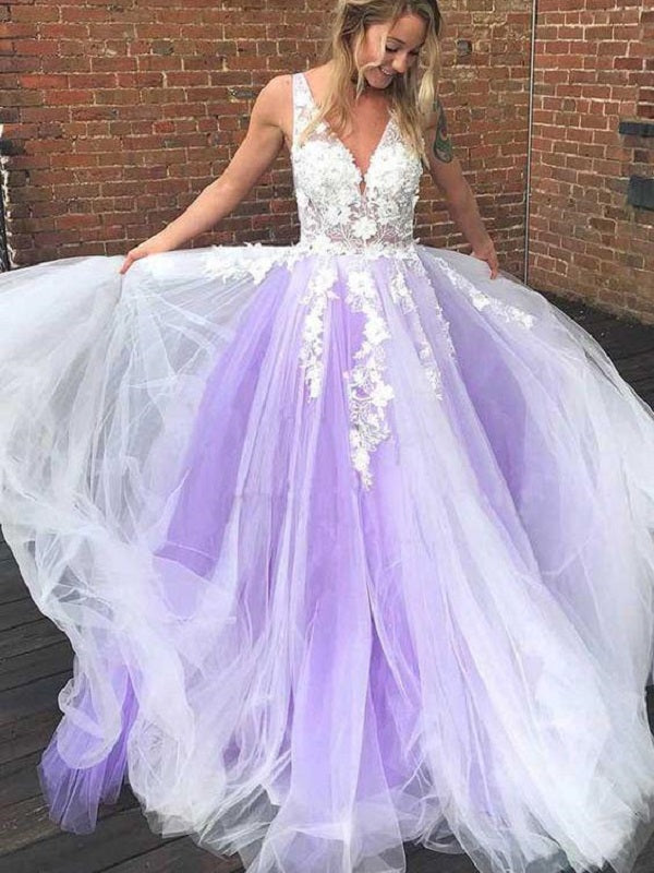Lavender Tulle Princess Plunge V neck 8TH Grade Formal Dress Prom Dress,GDC1289