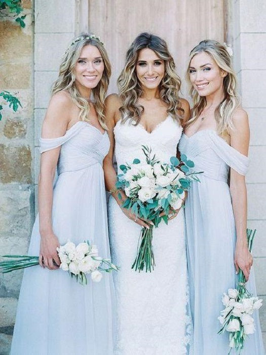 Light Blue Boho Bridesmaid Dresses Long for Rustic Wedding Maid of Honor Dresses,FS068-Dolly Gown