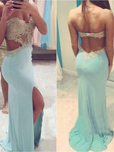 Light Blue Sexy Tight Backless Prom Dress with Side Slit Prom Dress with Split Front,MA112-Dolly Gown