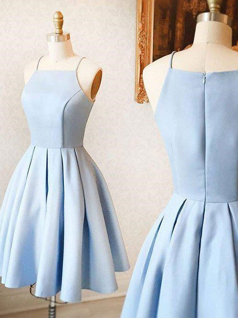 Light Blue Short Knee-Length Bridesmaid Dresses Light Blue Short Prom Dress 18021601-Dolly Gown