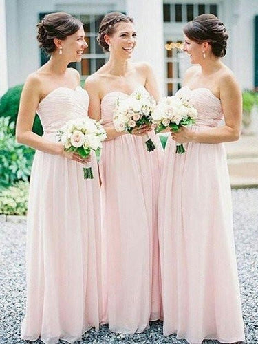 Light Pink Baby Pink Bridesmaid Dresses Long Strapless Chiffon Bridesmaid Dresses FS102-Dolly Gown