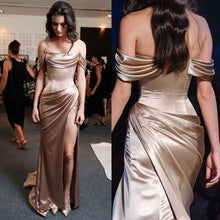 Long Gold Off The Shoulder Tight Prom Dress with Side Slit,20281614