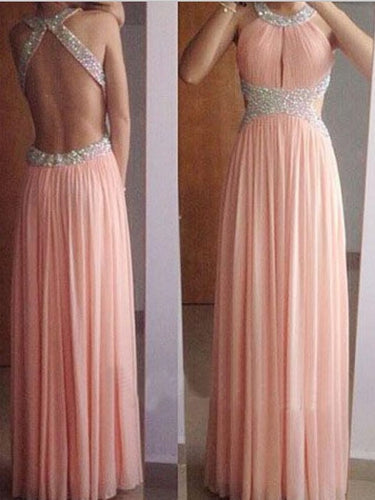 Long Homecoming Dress Pink Prom Dress For Teens Backless Prom Dress MA172-Dolly Gown