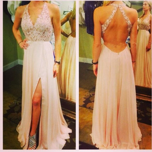 Long Homecoming Dress,Backless Prom Dress with Slit,Deep V Prom Gown,MA135-Dolly Gown