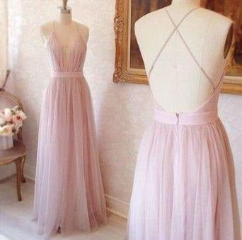 Plunge V neck Long Pink Prom Dress Tulle Prom Dress Backless Prom Dress 2021,MA191-Dolly Gown
