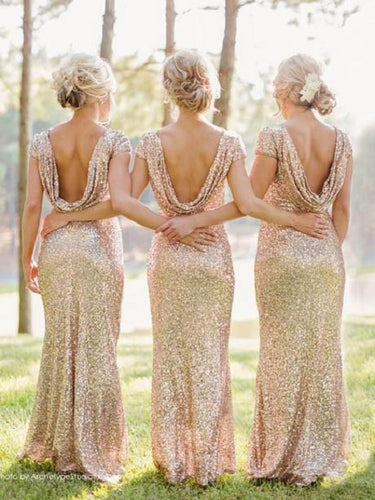 Long Rose Gold Sequin Bridesmaid Dresses Country Style Rustic Bridesmaid Dresses Fs013-Dolly Gown