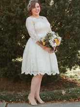 Long Sleeve Lace Tea Length Rockabilly Wedding Dress Country Style Wedding Dress 20081630