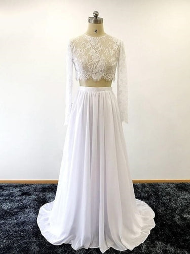 Long Sleeve See Through Lace Crop Top Bridal Separates with Chiffon Skirt 20082558-Dolly Gown