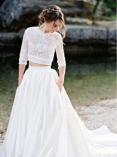 Long Sleeve High Neck Lace Two Piece Wedding Dress Crop Top Wedding Dress 20082691-Dolly Gown