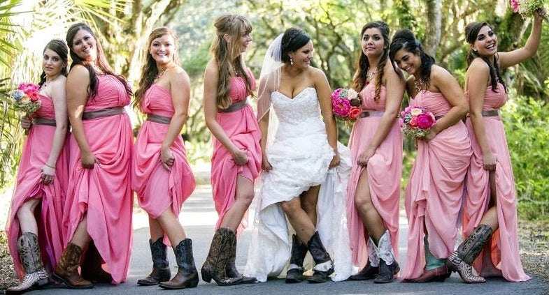 Long Chiffon Rustic Country Strapless Peach Bridesmaid Dresses with Boots,GDC1501-Dolly Gown
