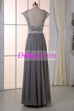 Long Gray Lace Top Bridesmaid Dresses Rustic Bridesmaid Dresses Fall Bridesmaid Dresses18032801-Dolly Gown