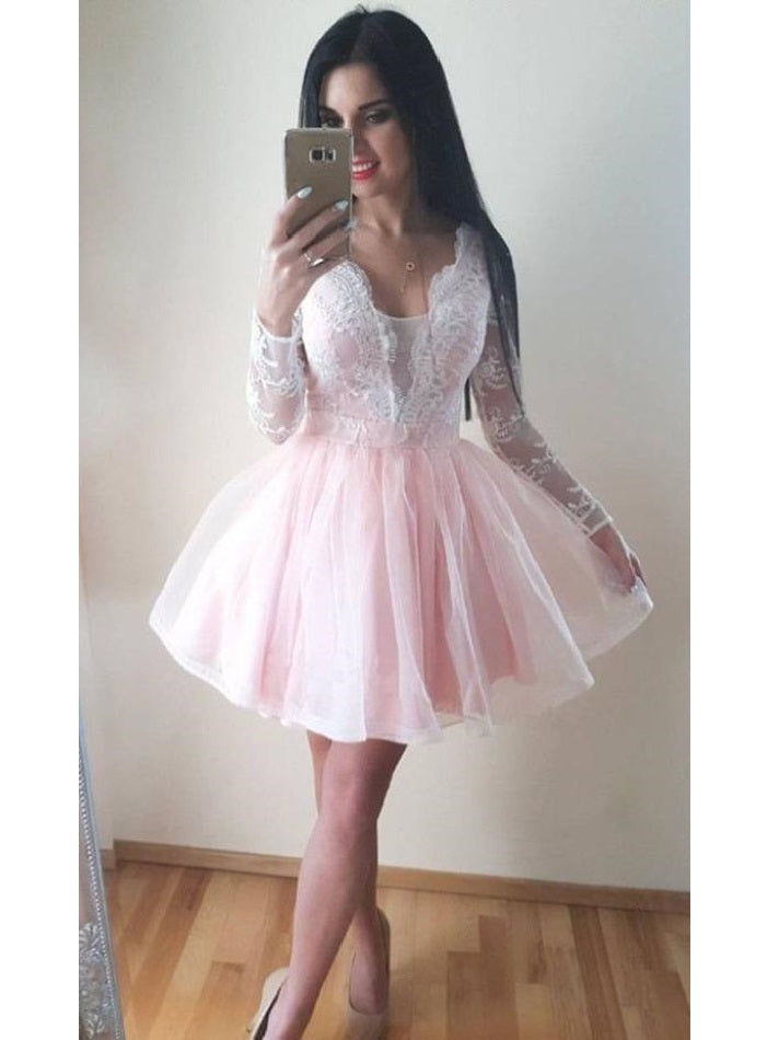 Lovely Pink Short Prom Dress with Long Sleeves,8th Grade Formal Dress,20082016