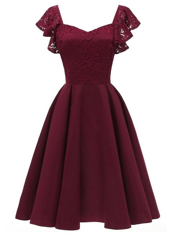 Luscious Short Maroon Prom Dress with Ruffle Straps Vintage 50s Short Bridesmaid Dresses 1626B-Dolly Gown