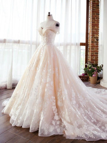 Luxury Champagne Lace Off Shoulders Poofy Ball Gown for Wedding Puffy Wedding Dress 20082203