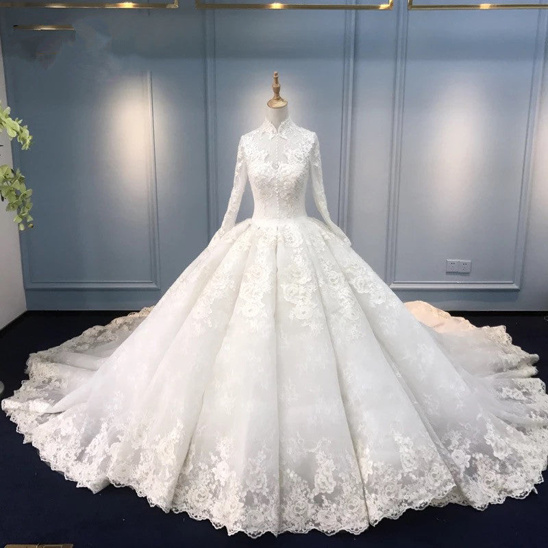 Luxury Muslim Modest Long Sleeve Lace Ball Gown Wedding Dress with Long Train #21011215-Dolly Gown