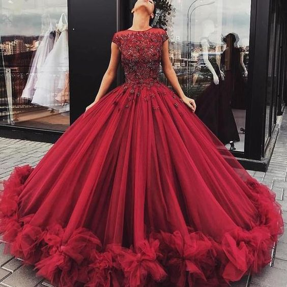 Luxury Ball Gown Burgundy Cap Sleeves Dazzling Beading Top Tulle Wedding Dress,GDC1129-Dolly Gown