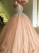 Luxury Ball Gown Champagne Tulle Dazzling Top Plunge V neck Prom Dress ,GDC1188