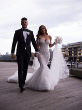 Luxury Mermaid Off Shoulder Tulle Bottom Lace Wedding Dress,GDC1126
