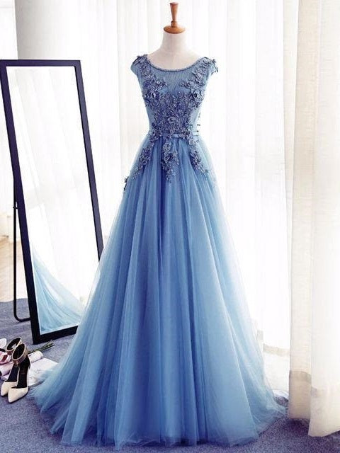 Blue Prom Dress,Modest Prom Dress,Robe De Bal,Formal Dresses,Long Prom Dress,MA003-Dolly Gown