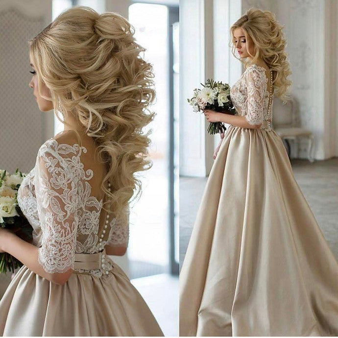 Champagne Wedding Dress, Champagne Prom Dress with Sleeves,Ball Gown Prom Dress,MA004-Dolly Gown