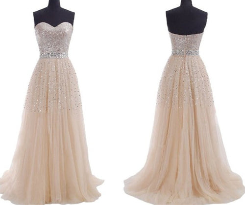 Champagne Prom Dress,Bling Prom Dress,Long Prom Dress,Strapless Prom Dress,MA009-Dolly Gown