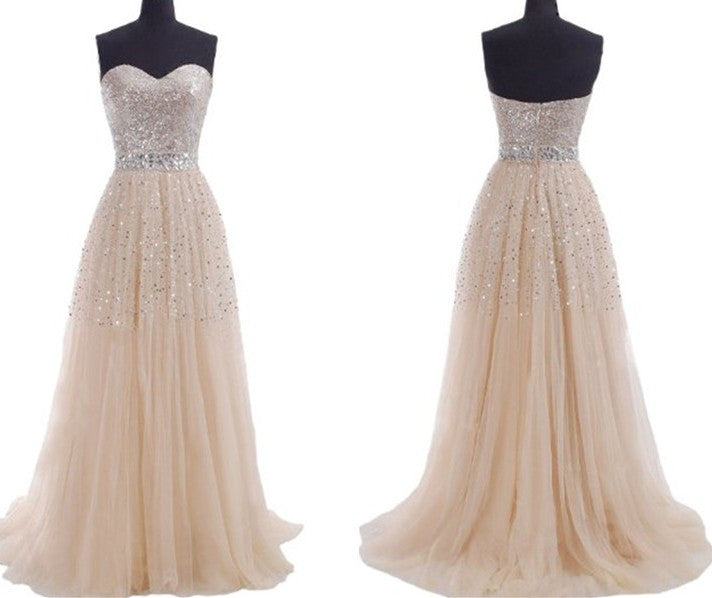 Champagne Prom Dress,Bling Prom Dress,Long Prom Dress,Strapless Prom Dress,MA009