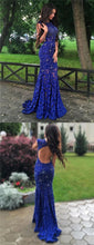Royal Blue Formal Dress,Lace Prom Dress, Open Back Prom Dress,Blue Prom Dress,MA013