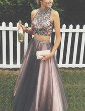 Brown Two Piece Prom Dress Long Prom Dress Poofy Prom Dress for Teens,MA014-Dolly Gown