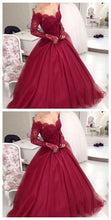 Ball Gown Prom Dress,Burgundy Prom Dress,Off The Shoulder Prom Dress,Long Sleeve Prom Dress,MA021-Dolly Gown
