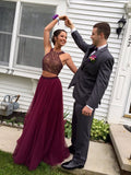 Juniors Prom Dress,Maroon Prom Dress, Two Piece Prom Dress,Prom Dress for Teens,MA026