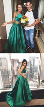 Emerald Green Prom Dress,Two Piece Prom Dress,Crop Top Prom Dress,Robe De Bal,MA030