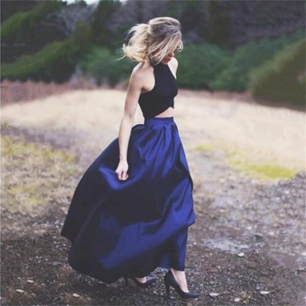 Country Prom Dress, Two Piece Prom Dress,Navy Prom Dress,Dresses for Wedding Guests,MA038-Dolly Gown