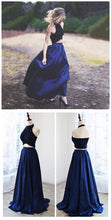 Country Prom Dress, Two Piece Prom Dress,Navy Prom Dress,Dresses for Wedding Guests,MA038