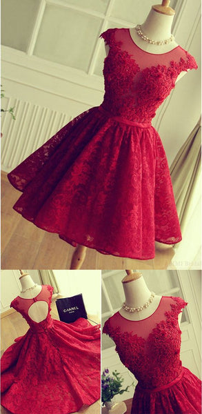 Short Prom Dress,Red Prom Dress,Vintage Prom Dress,Red Formal Dresses,MA046