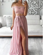 Beach Wedding Dress,Boho Prom Dress,Boho Wedding Dress,Pink Prom Dress,Two Piece Prom Dress,MA065-Dolly Gown