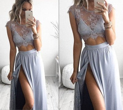 Blue Prom Dress,Boho Prom Dress,Two Piece Prom Dress,Formal Dress,Sexy Prom Dress,MA066