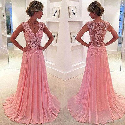 Pink Prom Dress,Long Prom Dress,See Through Prom Dress,Pink Evening Dress,MA069