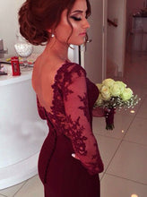 Burgundy Formal Dress,Prom Dress With Sleeves,Long Prom Dress,Robe De Bal,MA076