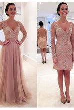 Dusty Pink Prom Dress, Prom Dress With Detachable Train, Prom Dress With Sleeves,Long Prom Dress,MA078
