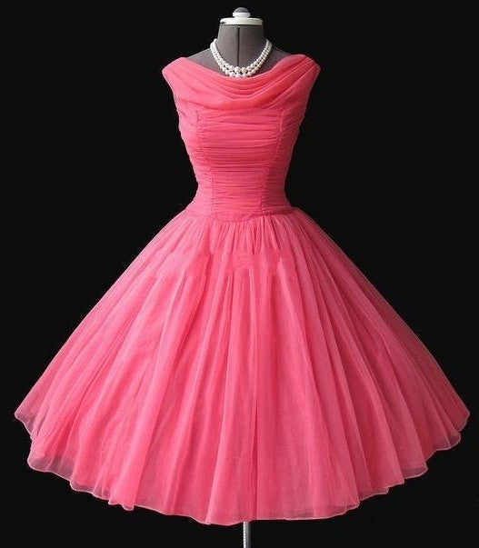 Watermelon Prom Dress,50s Prom Dress,Vintage Prom Dress,Ball Gown Prom Dress,MA079