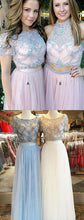 Pink Two Piece Long Prom Dress with Short Sleeves Prom Dress For Freshman Modest Prom Dress,MA084-Dolly Gown