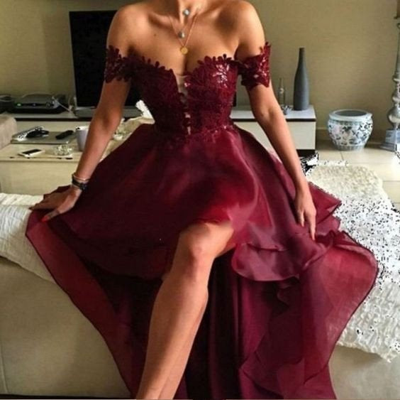 High Low Prom Dress, Burgundy Prom Dress,2021 Prom Dress,Off Shoulder Prom Dress,MA085-Dolly Gown