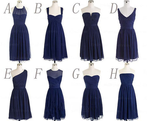 Short Bridesmaid Dresses,Navy Bridesmaid Dresses,Mismatched Bridesmaid Dresses,Mixed Bridesmaid Dresses,MA093