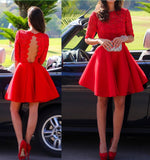Short Formal Dress,Red Formal Dress,Red Prom Dress,Prom Dress With 1/2 Sleeves,Lace Prom Dress,MA095